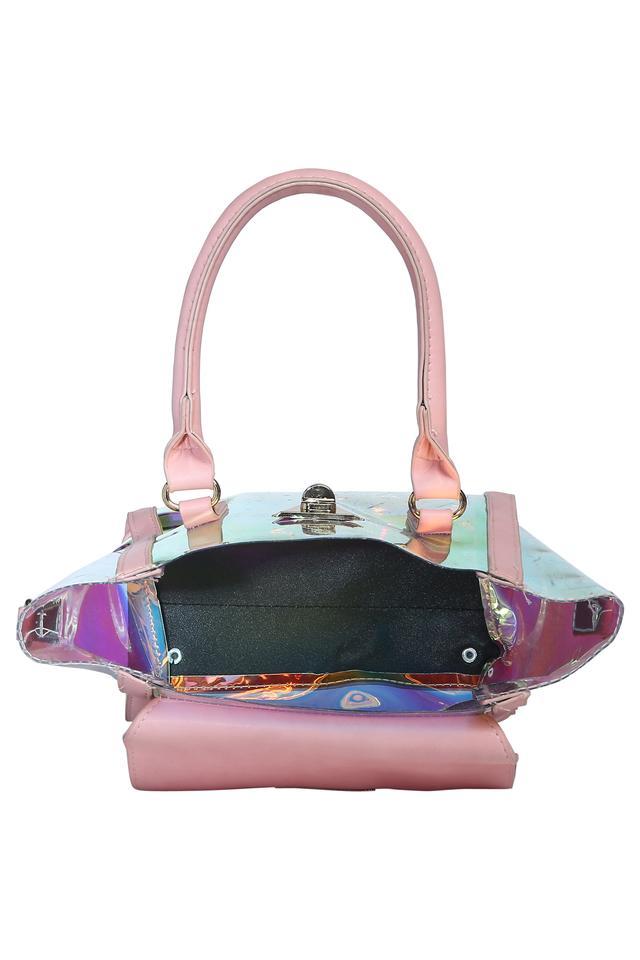 Womens Metallic Lock Closure Sling Bag