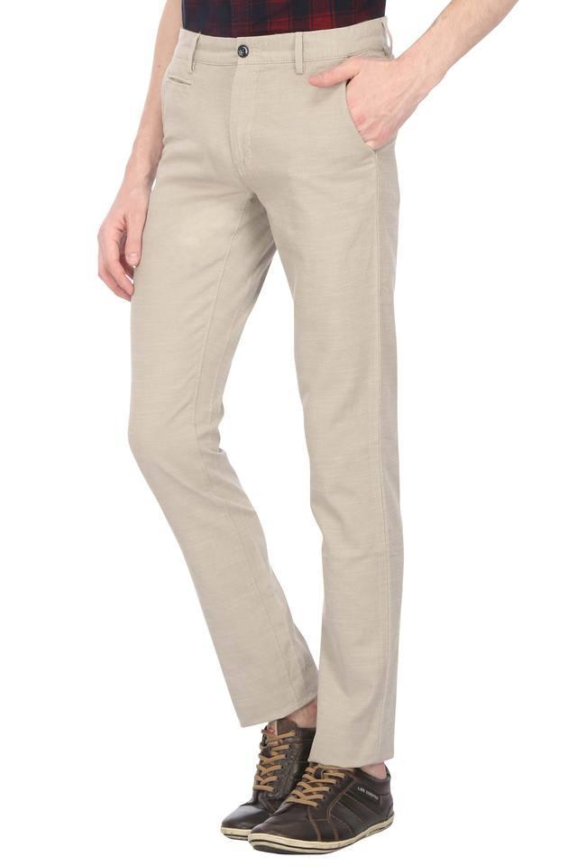 Mens 4 Pocket Slub Casual Trousers