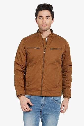 d2fc3c0c4835 Buy SPYKAR Mens Slim Fit Band Collar Solid Jacket