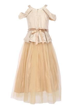 Girls Round Neck Self Pattern Flared Dress With Belt
