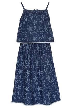 Girls Spaghetti Neck Printed Blouson Dress