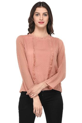 Womens Ruffled Neck Embroidered Top