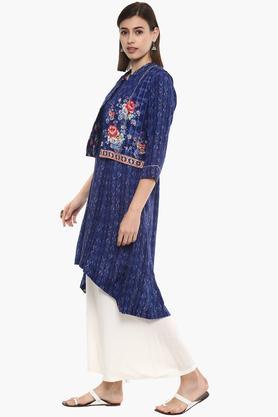 Womens Mandarin Neck Printed Kurta With Jacket