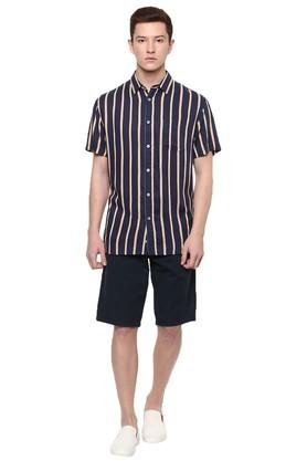 Mens Straight Fit Striped Casual Shirt