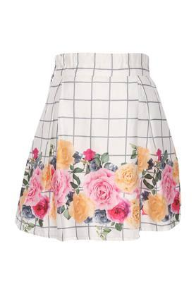 Girls Floral Print Casual Skirt