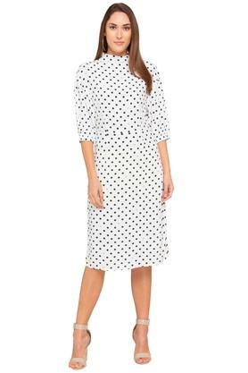 Womens Band Collar Printed Shift Dress