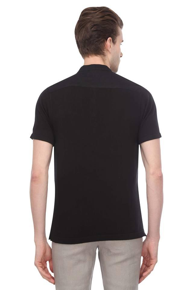 Mens Band Collar Solid T-Shirt