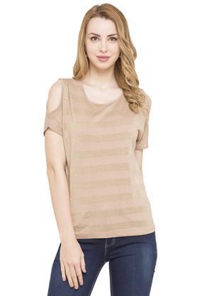 Womens Cold Shoulder Sleeves Shimmer Top