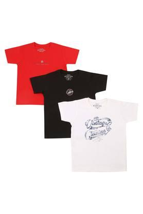 Boys Round Neck Printed and Solid Tee Pack of 3