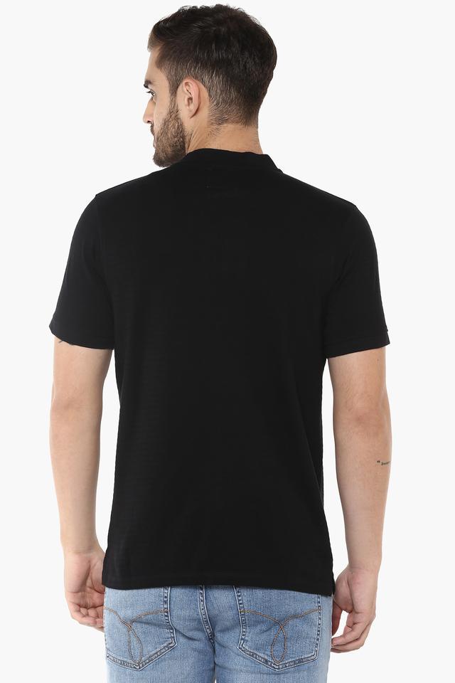 Mens Band Neck Solid T-Shirt