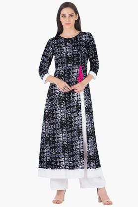 INDYA Womens Round Neck Printed Regular Fit Kurta - 203316770