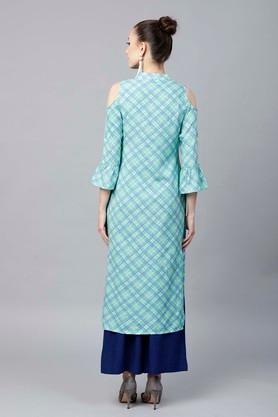 Womens Mandarin Neck Checked Kurta