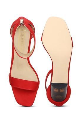 Womens Zip Closure Slim Block Heeled Sandals