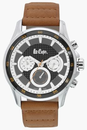 LEE COOPER Mens Chronograph Grey Dial Leather Watch - LC06540355