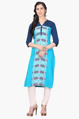 AURELIAWomens Mandarin Neck Colour Block Embroidered Kurta