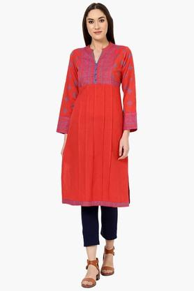 RANGRITI Womens Straight Poly Cotton Kurta