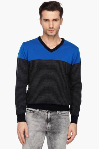 04f53325 Buy STOP Mens V Neck Stripe Sweater | Shoppers Stop