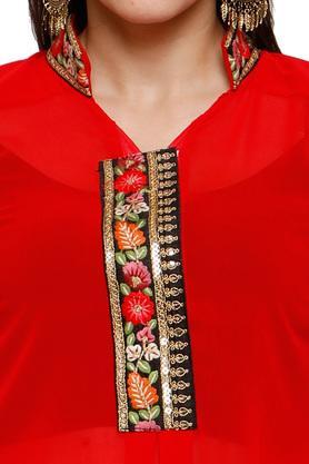 Womens Stand Up Collar Embroidered Kurta