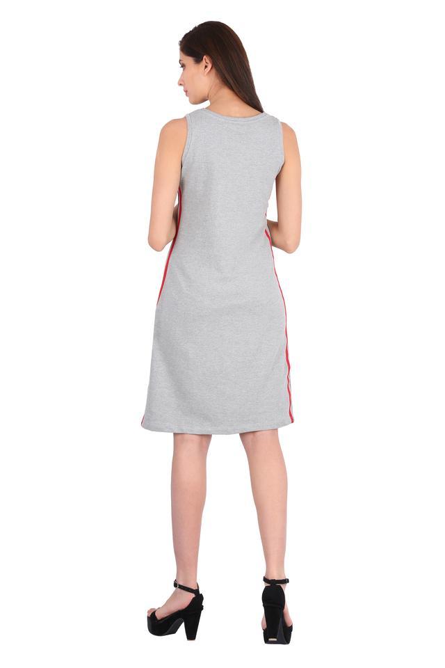 Womens Round Neck Slub Shift Dress