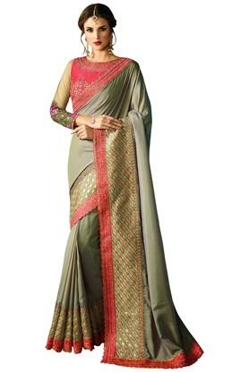 VRITIKA Womens Dusty Barfi Silk Embroidered Saree With Blouse