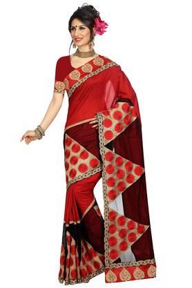 DEMARCAWomens Tussar Silk Net Designer Saree