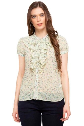 Womens Band Collar Printed Shirt