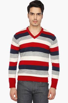INDIAN TERRAINMens V Neck Stripe Pullover