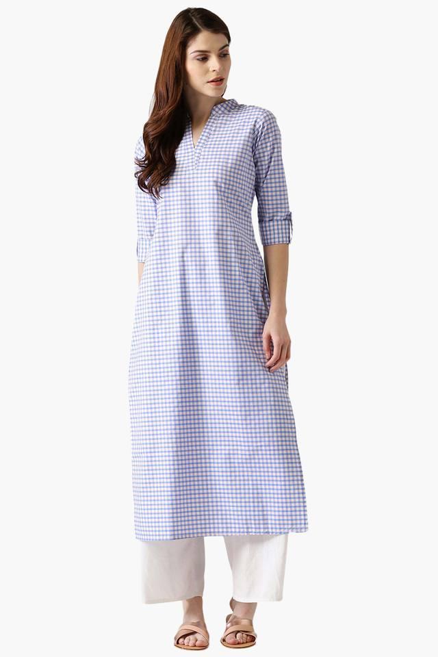 Womens Cotton Checked Straight Kurta