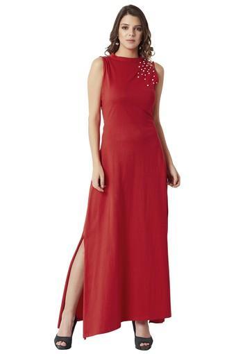 Womens Band Neck Embellished Maxi Dress