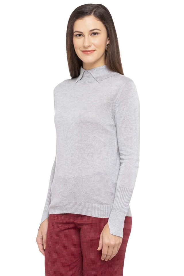 Womens Collared Slub Sweater