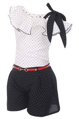 Girls One Shoulder Neck Dot Pattern Jumpsuit with Belt