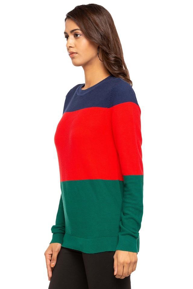 Womens Round Neck Colour Block Top