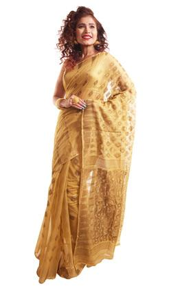 HAST VASTRA Womens Golden Weave Saree With Blouse