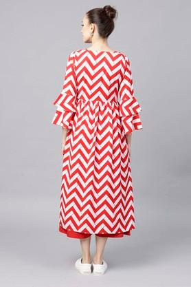 Womens Round Neck Striped Flared Dress