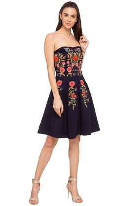 c2abadf29d0 X COVER STORY Womens Off Shoulder Neck Embroidered Tube Dress