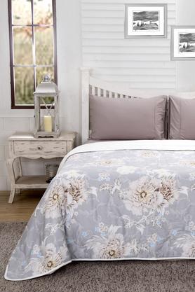 Essence Floral Aaron Beige Printed Cotton 100 GSM Double Quilt