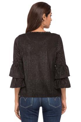 Womens Ruffled Neck Stripe Top