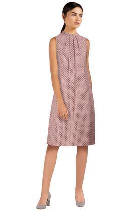 Womens Round Neck Dot Pattern A-Line Dress