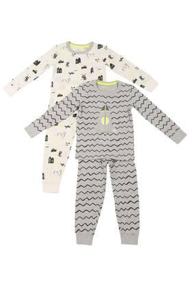 Boys Round Neck Printed Top and Pants Set Pack of 2