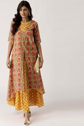 Womens Notched Floral Print Kurta and Skirt Set