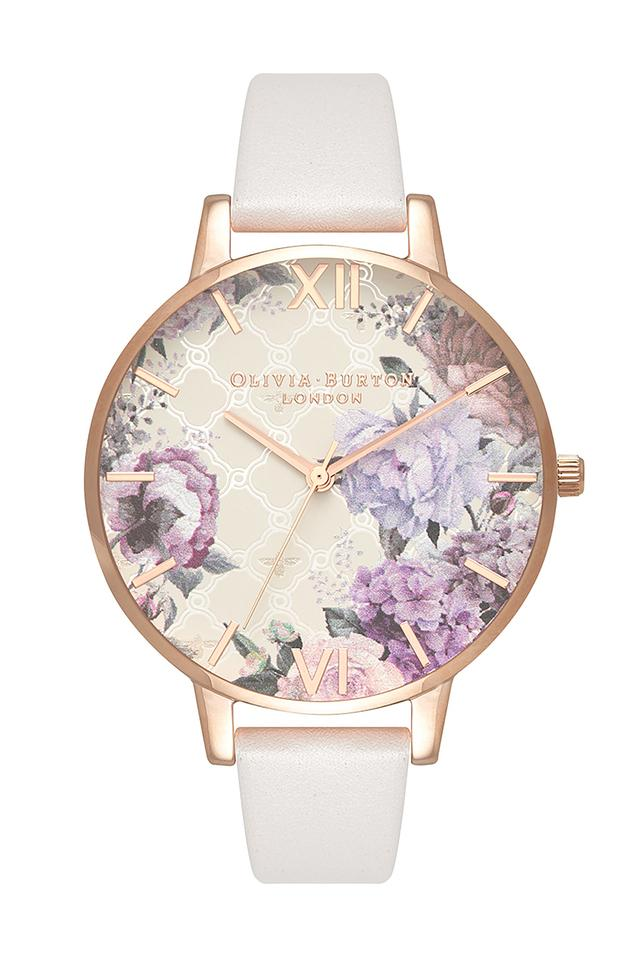 Womens Floral Round Dial Leather Analogue Watch - OB16EG97W