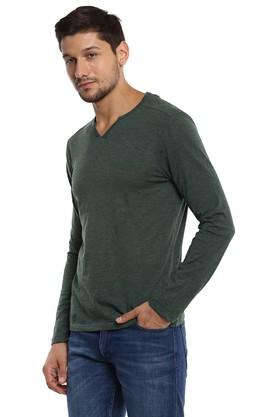 Mens Notched Neck Slub T-Shirt