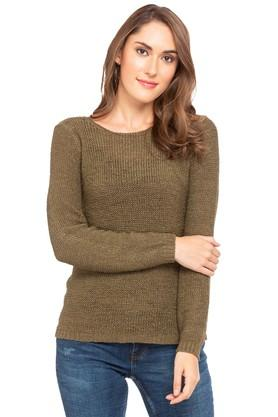 ONLY Womens Round Neck Knitted Pattern Pullover