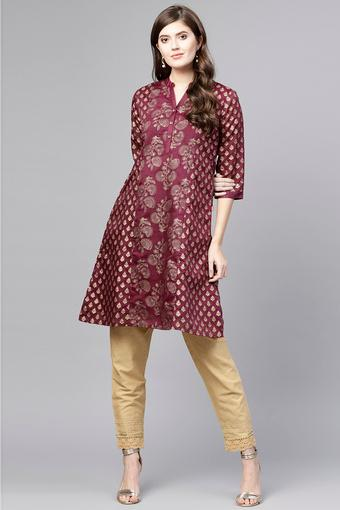 Womens Mandarin Neck Printed Kurta and Pant Set
