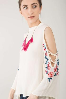 Womens Band Neck Embroidered Top
