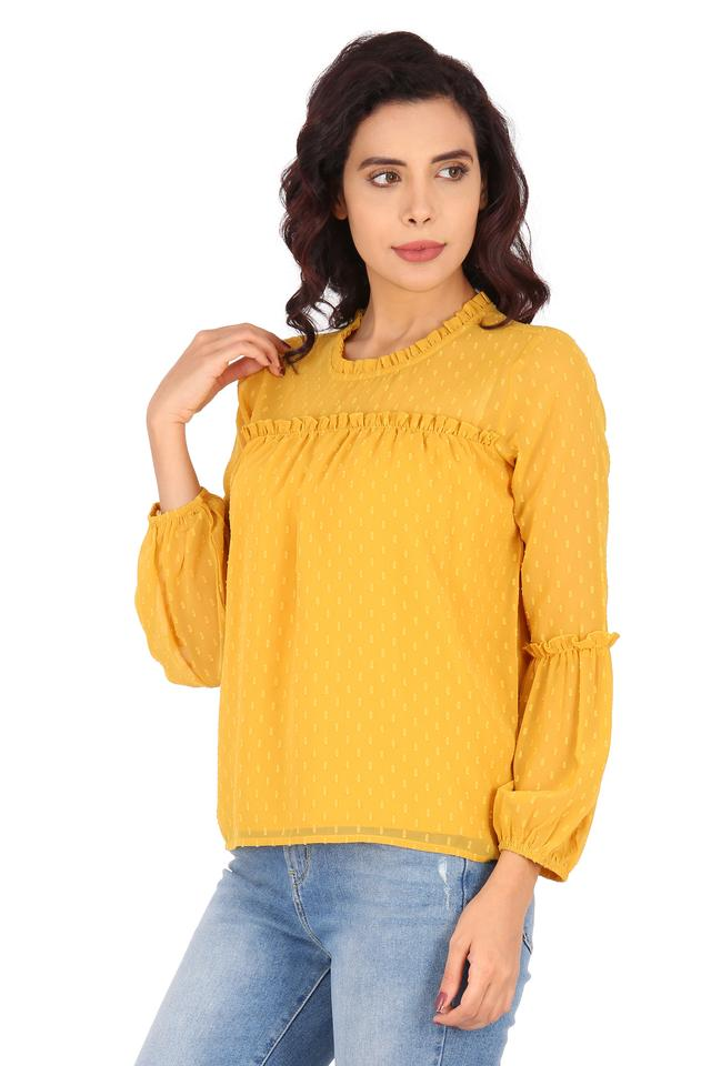 Womens Ruffled Collar Self Printed Top