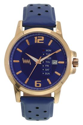 Mens Blue Dial Leather Analogue Watch - LWM102B