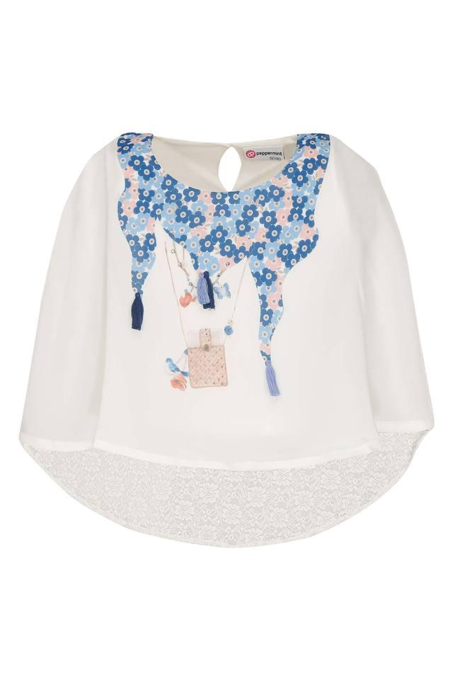 Girls Round Neck Printed Cape Top