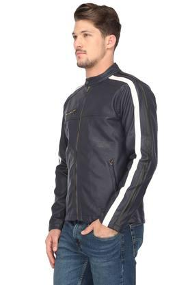 Mens Band Collar Solid Bikers Jacket