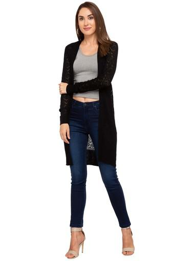 Womens Open Front Solid Long Jacket